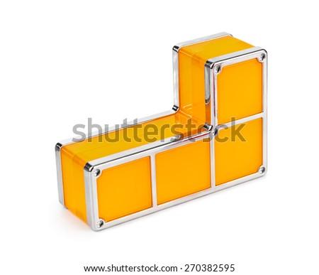 Tetris toy blocks isolated on white background - stock photo