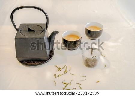 Tetsubin squire shape teapot, tea cup, and tea - stock photo