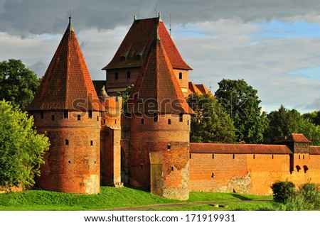 Teutonic castle in Malbork, Poland.  - stock photo