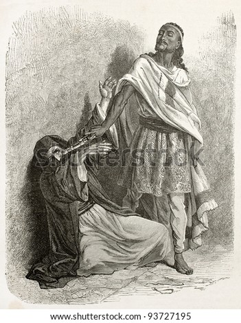 Tewodros II of Ethiopia pointing his gun against the patriarch of Alexandria. Created by Bayard after Lejean, published on Le Tour du Monde, Paris, 1867 - stock photo