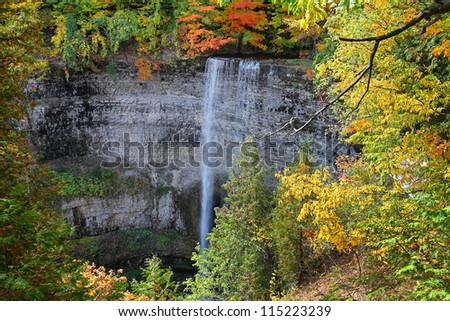 Tews Falls in Hamilton, Ontario autumn scene, Canada. - stock photo