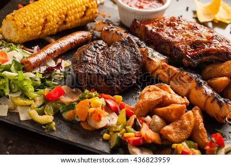 Tex Mex mixed grill plate - stock photo