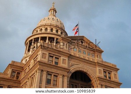 Texas Capitol at sunset on a cloudy day - stock photo