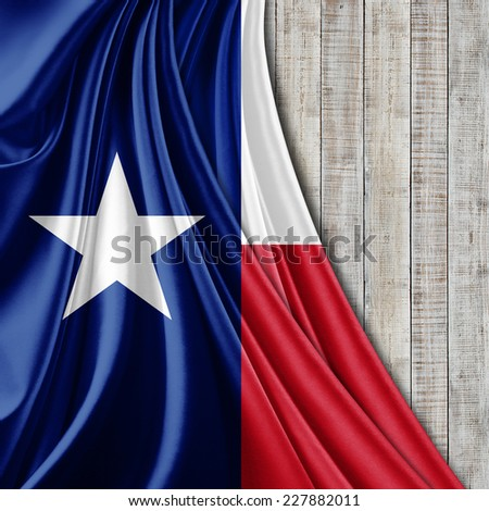 Texas flag fabric and wood background