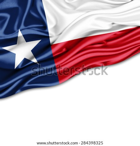 texas flag of silk and white background - stock photo