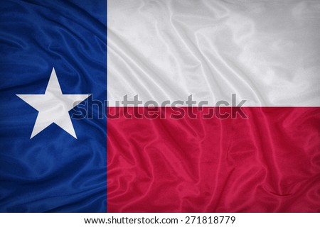 Texas flag on fabric texture,retro vintage style - stock photo