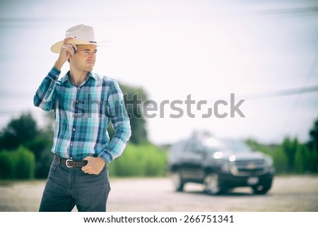 Texas guy with a truck - stock photo