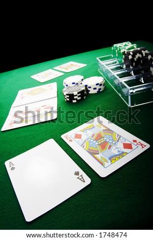 Texas hold'em poker showdown. - stock photo