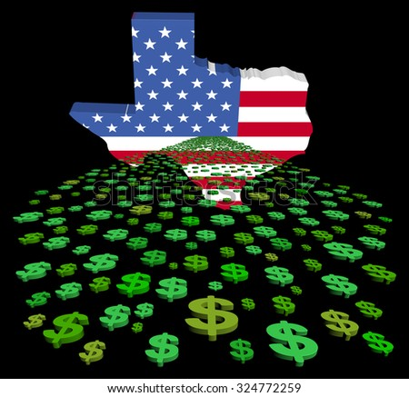 Texas map flag with abstract dollars illustration - stock photo