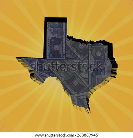Texas map on dollars sunburst illustration - stock photo