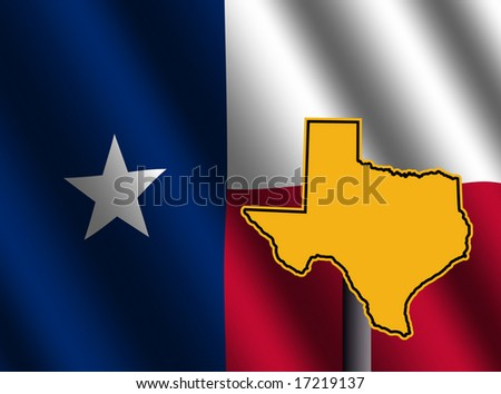 Texas map sign and rippled Texan flag illustration - stock photo