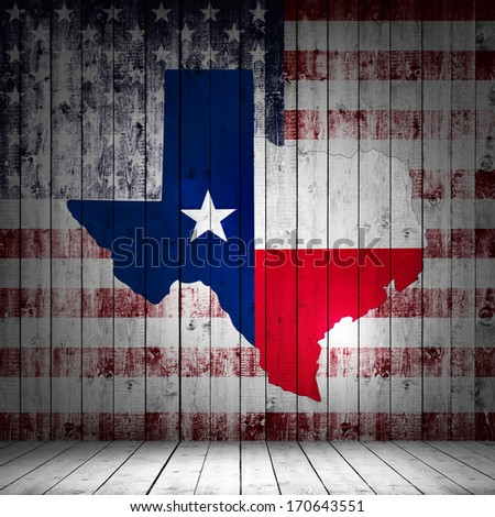 Texas map with America flag and wood background - stock photo