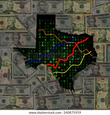 Texas map with hex code and graphs on dollars illustration - stock photo
