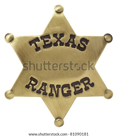 Texas Ranger Badge Isolated - stock photo