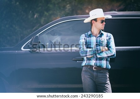 Texas ranger with a car - stock photo