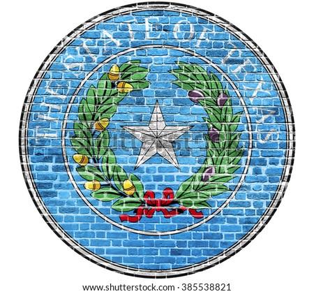 Texas Seal US flag painted on old vintage brick wall - stock photo