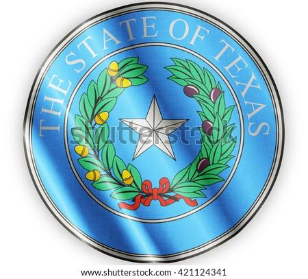 Texas seal waving flag close - stock photo