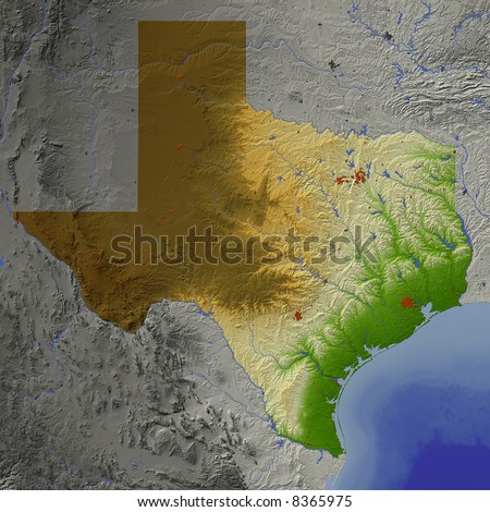 Texas. Shaded relief map.  Shows major urban areas and rivers, surrounding territory greyed out.  Colored according to terrain height. Map projection Mercator. - stock photo