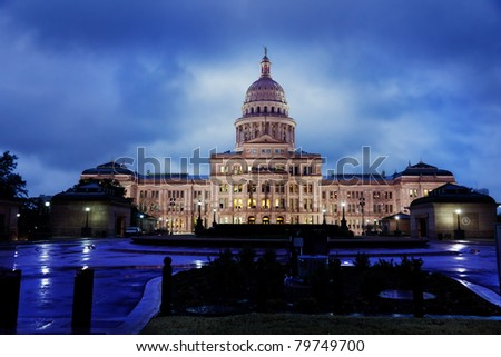 Texas State Capitol building in Austin on a rainy evening - stock photo