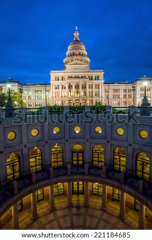 Texas State Capitol Building in Austin, TX. at twilight - stock photo