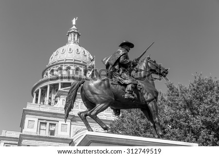 Texas State Capitol Building in Austin, TX in black and white - stock photo