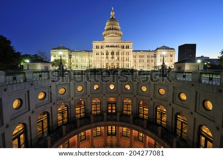 Texas State Capitol Building in downtown Austin, Texas. - stock photo