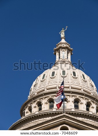 Texas State Capitol Building with blue sky. - stock photo
