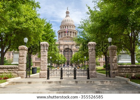 Texas State Capitol front view - stock photo