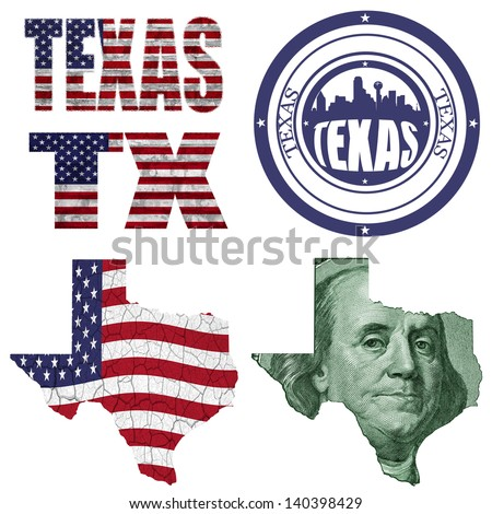 Texas state collage (map, stamp,word,abbreviation) in different styles in different textures - stock photo