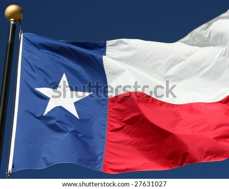 Texas state flag blowing in a strong wind. - stock photo