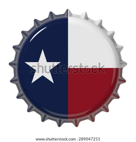 Texas State flag on bottle cap. 3D rendering - stock photo