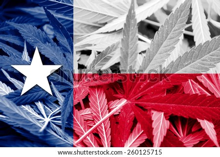 Texas State Flag on cannabis background. Drug policy. Legalization of marijuana - stock photo