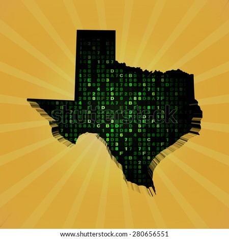 Texas sunburst map with hex code illustration - stock photo