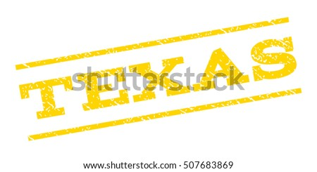 Texas watermark stamp. Text tag between parallel lines with grunge design style. Rubber seal stamp with unclean texture. Glyph yellow color ink imprint on a white background.