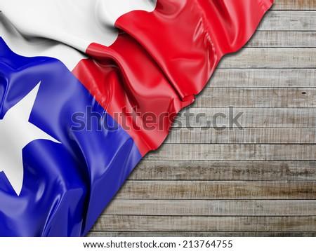 Texas Wavy Flag with horizontal wood - stock photo