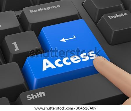 Text access button 3d render - stock photo