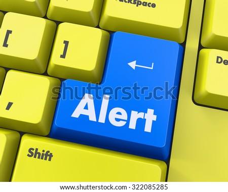 Text alert button 3d render - stock photo