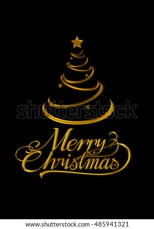 Text and gold Christmas tree . For festive decorations