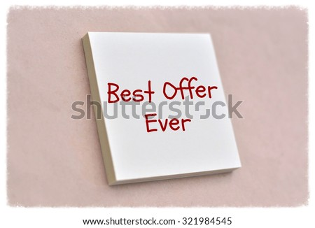 Text best offer ever on the short note texture background - stock photo