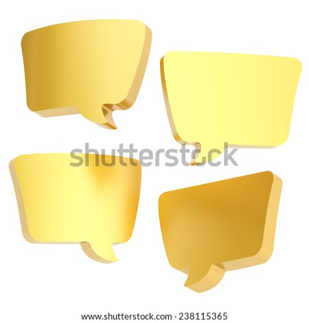 Text bubble golden dimensional shapes isolated over the white background, set of four foreshortenings - stock photo