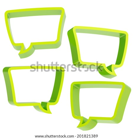 Text bubble green dimensional shapes isolated over the white background, set of four foreshortenings - stock photo