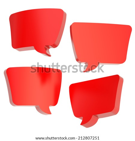 Text bubble red glossy dimensional shapes isolated over the white background, set of four foreshortenings - stock photo