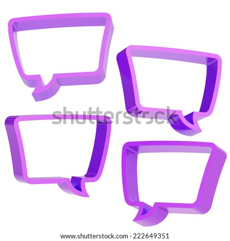 Text bubble violet dimensional shapes isolated over the white background, set of four foreshortenings - stock photo
