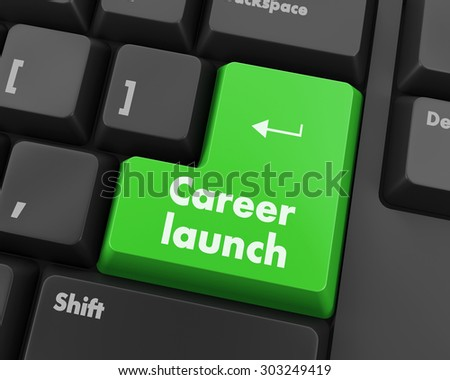 Text career launch button 3d render