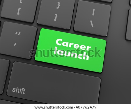 Text career launch button, 3d rendering