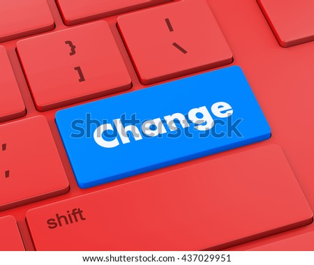 Text change button, 3d rendering - stock photo