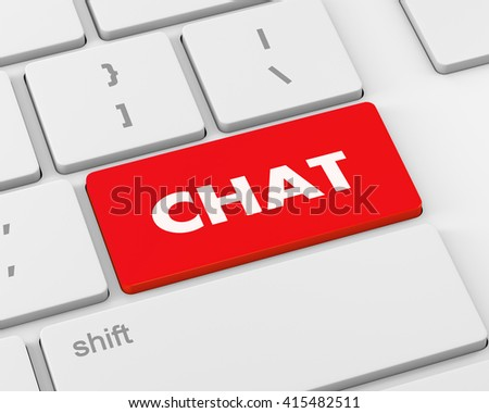 Text chat button, 3d rendering