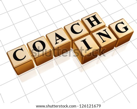 text coaching in 3d golden cubes with black letters - stock photo