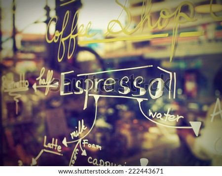 text coffee menu on the mirror coffee shop - stock photo