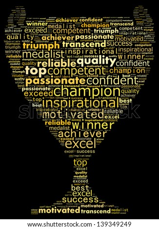 Text collage of a winner. - stock photo